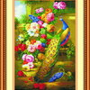 นกยูง ดอกไม้มงคล ครอสติชจีน พิมพ์ลาย