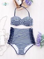 B2P-024 ชุดว่ายน้ำน่ารักๆสีน้ำเงิน คาดสีขาว