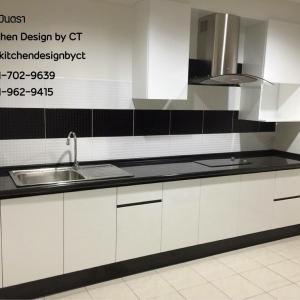 I-Shape Modern B&W Kitchen (ชุดครัวบิ้วอินตัวไอสีขาว-ดำสไตล์โมเดิร์น)