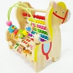 ของเล่นไม้เสริมพัฒนาการ ลูกคิดม้าน้อย 3in1 (ลูกคิด, ขดลวดลูกปัดไม้ และรางตัวเลข)