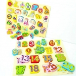 ของเล่นไม้ชุดกระดานจิ๊กซอว์รูปภาพสอน A-Z คำศัพท์ เเละตัวเลข