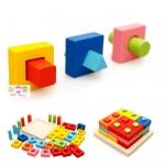 บล็อคไม้สวมหลักรูปทรงกึ่งจิ๊กซอ สื่อการเรียนการสอน ใช้ในโรงเรียนแบบ Montessori