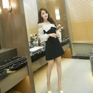 ชุดเดรสสั้นแฟชั่นเกาหลีสายเดี่ยวแขนยาวเปิดไหล่เข้ารูป