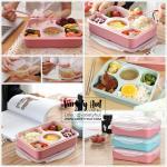 กล่องข้าวแบบ 5 ช่องพร้อมกระปุกซุปและช้อน อุ่นไมโครเวฟได้ แช่ฟรีซได้ (มี 2 สี)
