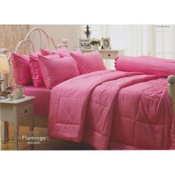 ชุดเครื่องนอน JESSICA Cotton100% ซิลค์ซายน์ สีฟลามิงโก้-Flamingo ชมพูหวาน