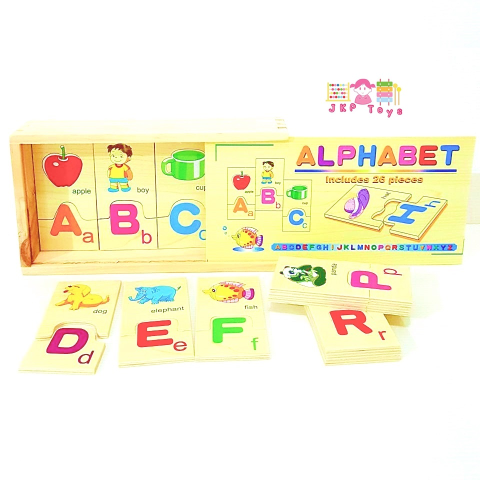 เเผ่นไม้จับคู่ตัวอักษรเเละคำศัพท์ (Alphabet Learning Box)