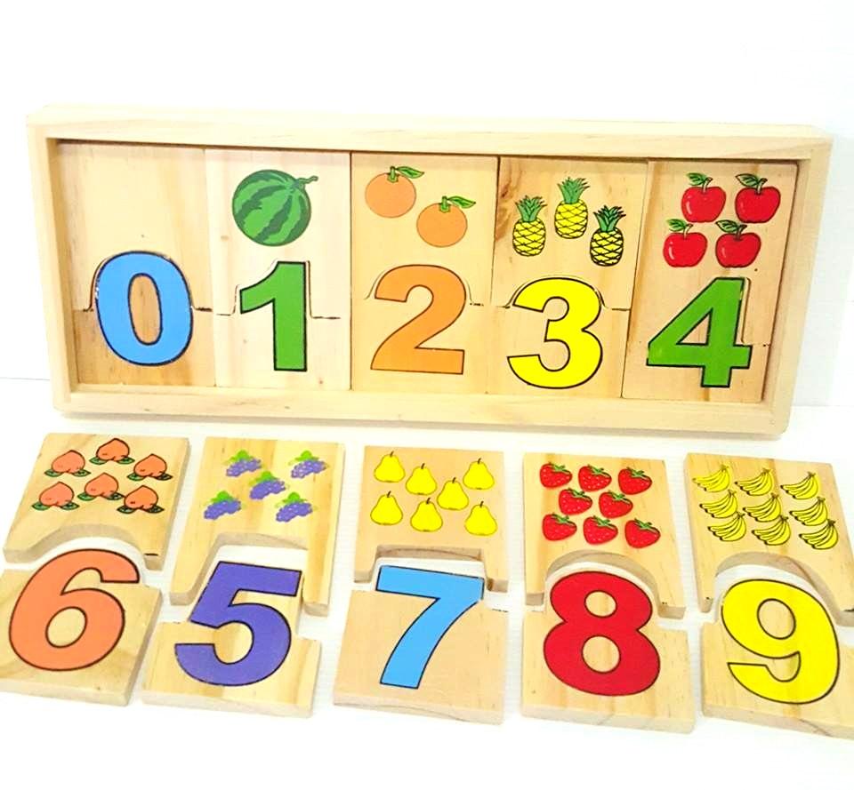 ของเล่นเสริมพัฒนาการ ของเล่นไม้ จับคู่ภาพกับตัวเลข