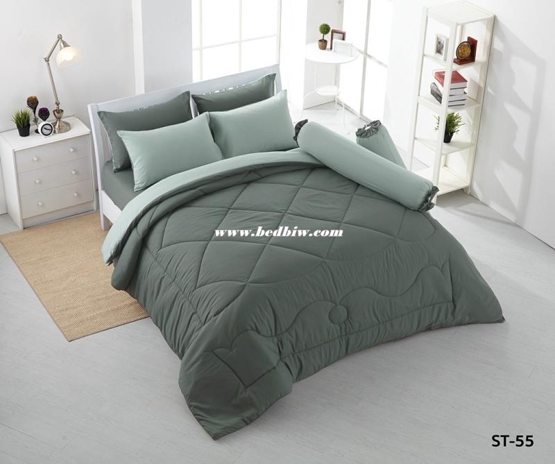 ชุดเครื่องนอน ผ้าปูที่นอนสีพื้น Stamp รหัส ST-55
