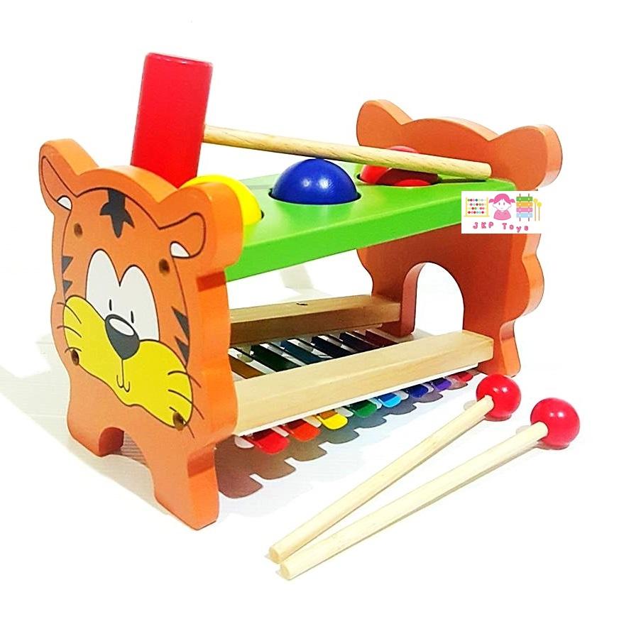 ระนาดทุบตอกไม้ลายเสือน้อย ของเล่นไม้เสริมพัฒนาการ