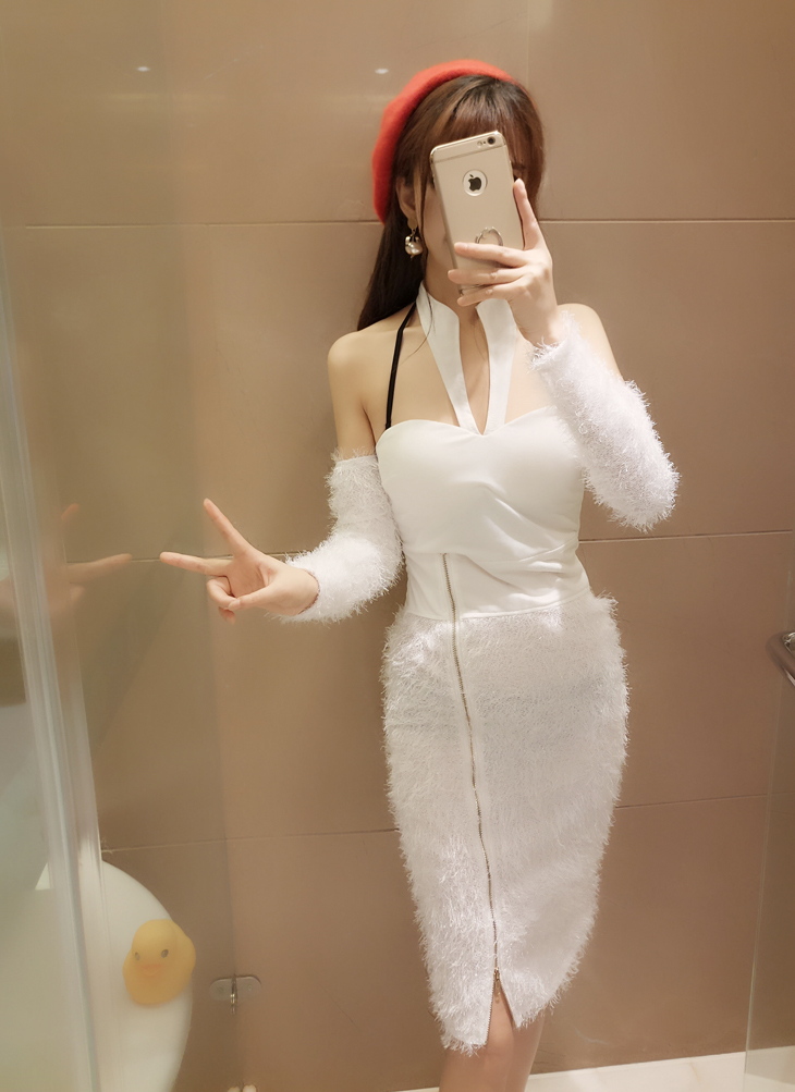 ชุดเดรสแฟชั่นเกาหลีสีขาวน่ารัก