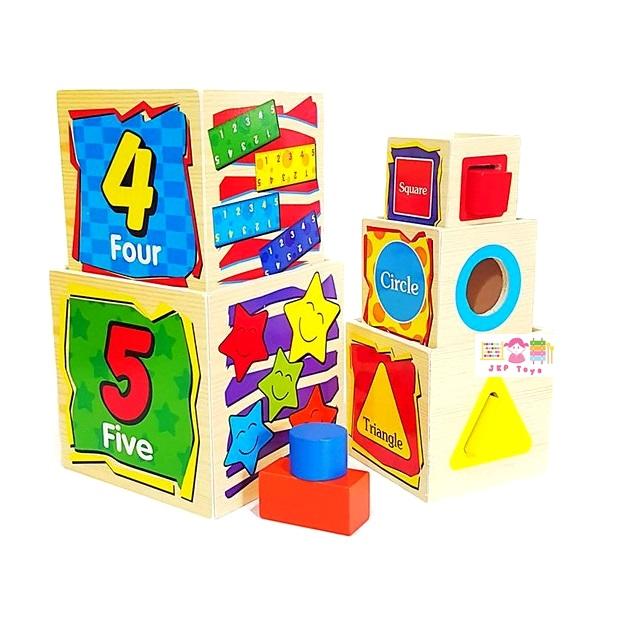 กล่องไม้เรียงซ้อน 5 ชั้น หยอดบล็อค รูปทรง