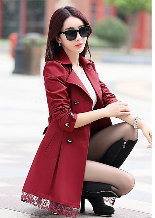 เสื้อคลุมสไตล์เกาหลีสีเเดงราคาถูก