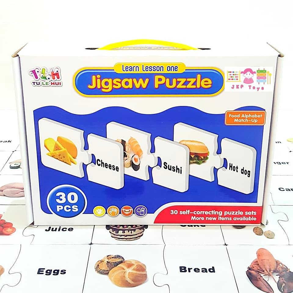 จิ๊กซอว์จับคู่ภาพกับคำศัพท์ภาษาอังกฤษหมวดอาหาร 30 ชนิด