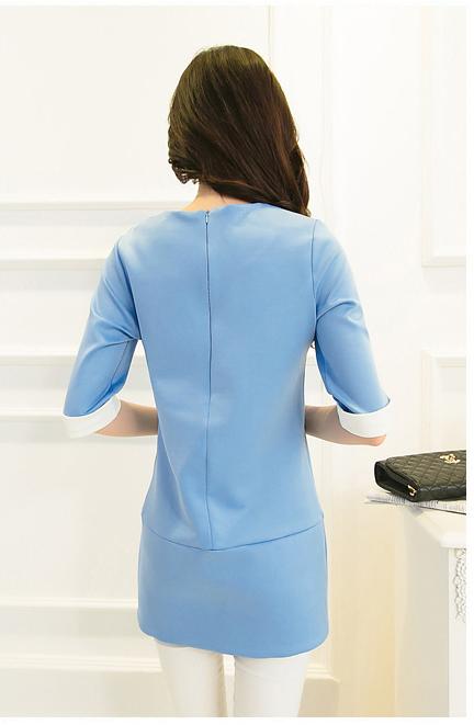 ชุดเดรสทำงานสีฟ้าสวยๆ