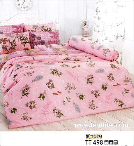 toto ชุดเครื่องนอน ผ้าปูที่นอนลายใบไม้น่ารัก TT498