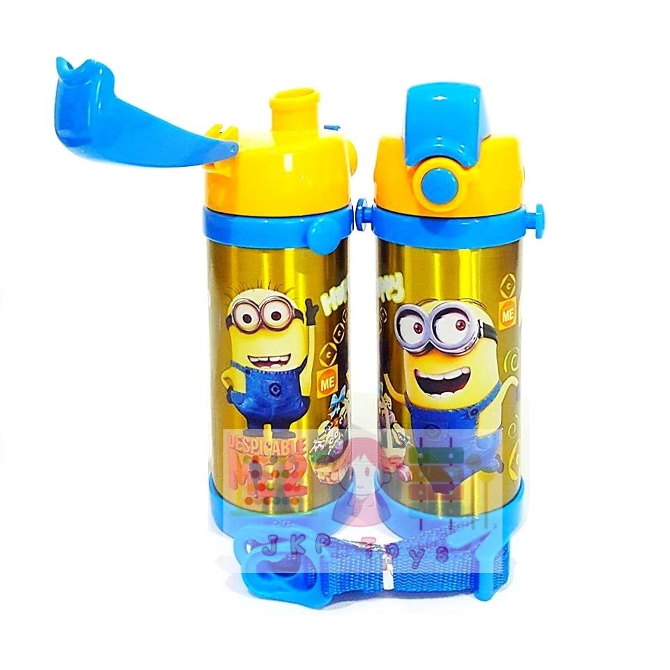 กระติกน้ำสแตนเลสเก็บความร้อน ความเย็น กระติกน้ำสำหรับเด็ก มินเนี่ยน (ยกดื่ม เหลืองคาดฟ้า)