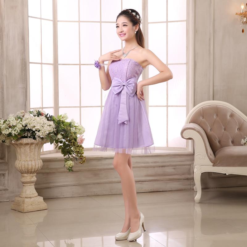 ชุดเดรสออกงานราคาถูกสีม่วงกระโปรงบานมีโบว์ผูกแฟชั่นเกาหลีน่ารักๆ