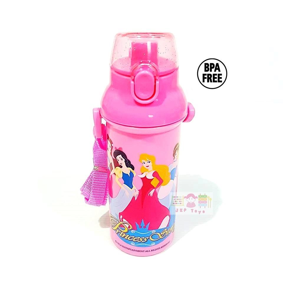 กระติกน้ำเด็ก มีสายสะพายแบบยกดื่ม + ใส่หลอดดูดได้ ลาย Frozen สีชมพู