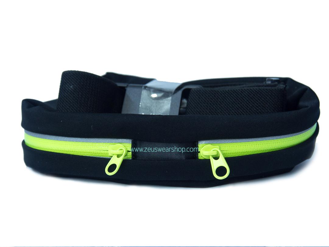 กระเป๋าคาดเอววิ่ง 2 ซิป สีเขียวสะท้อนแสง ผ้ากันน้ำ กันเหงื่อ กันฝน