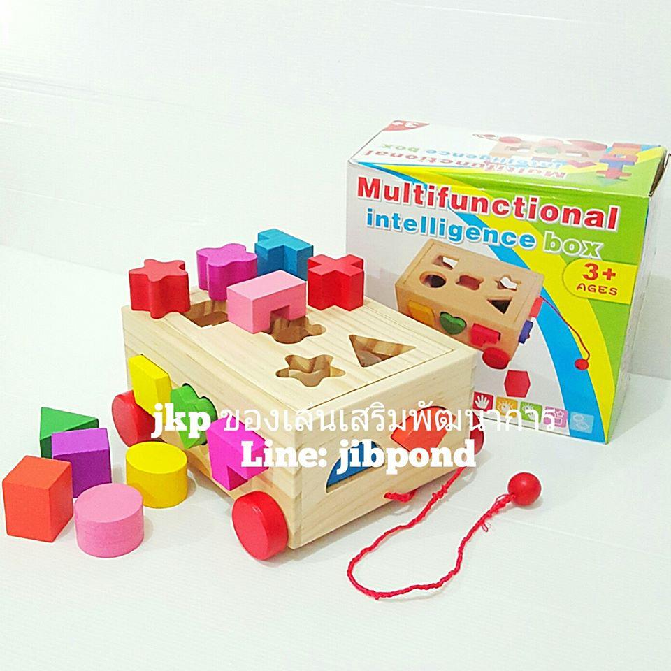ของเล่นเสริมพัฒนาการ ของเล่นของเล่นไม้ชุดรถลาก กล่องบล็อกหยอดรูปทรง