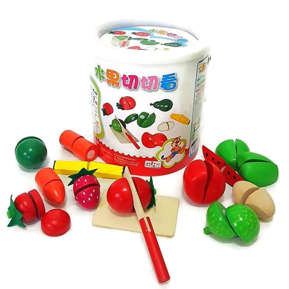 ของเล่นเสริมพัฒนาการ ของเล่นไม้ ของเล่น หั่นผัก ผลไม้ในถัง