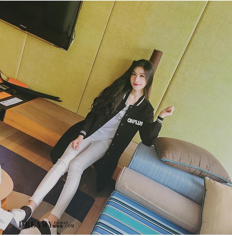 เสื้อกันหนาวแฟชั่นเกาหลีสีดำแขนยาวแถบขาว