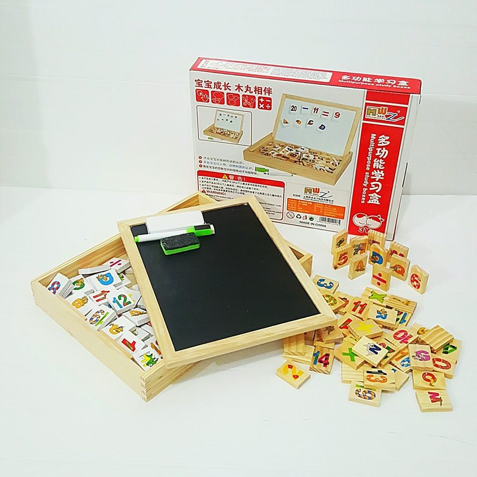 กล่องกระดานไม้พร้อมเเผ่นเเม่เหล็กสำหรับติดกระดานไวท์บอร์ดเเละโดมิโน่