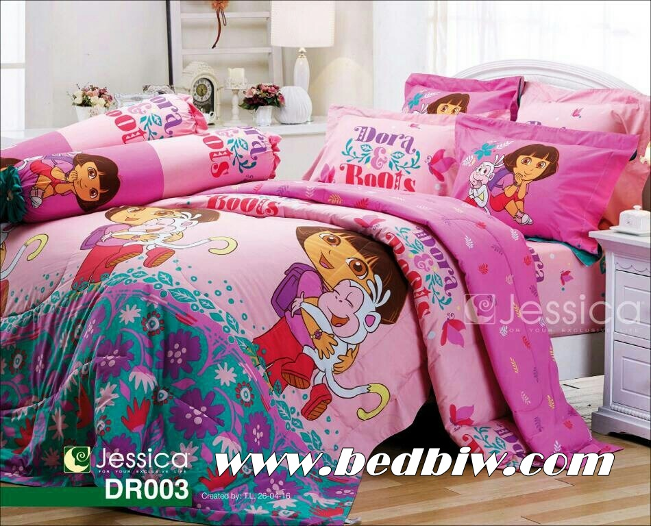 ชุดเครื่องนอน ผ้าปูที่นอน ลายดอร่า Dora รหัส DR003 ลายใหม่ล่าสุด