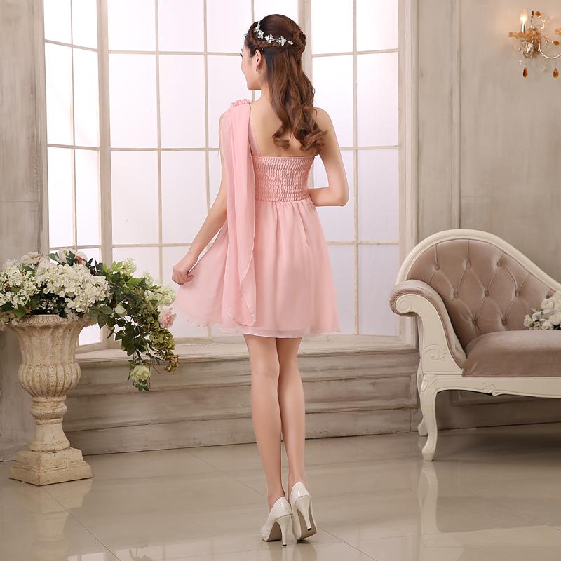 ขายส่งชุดเดรสออกงานราคาถูกสีชมพูกระโปรงบานปาดไหล่เฉียงพร้อมรับตัวแทน