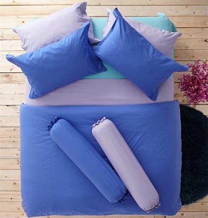 ชุดเครื่องนอน ผ้าปูที่นอน : อิมเพรสชั่น ผ้าสีพื้น : LI - SD -15 น้ำเงินอ่อน