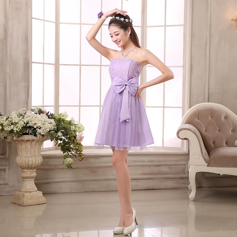 ขายส่งชุดเดรสออกงานราคาถูกสีม่วงกระโปรงบานมีโบว์ผูกแฟชั่นเกาหลีน่ารักๆ