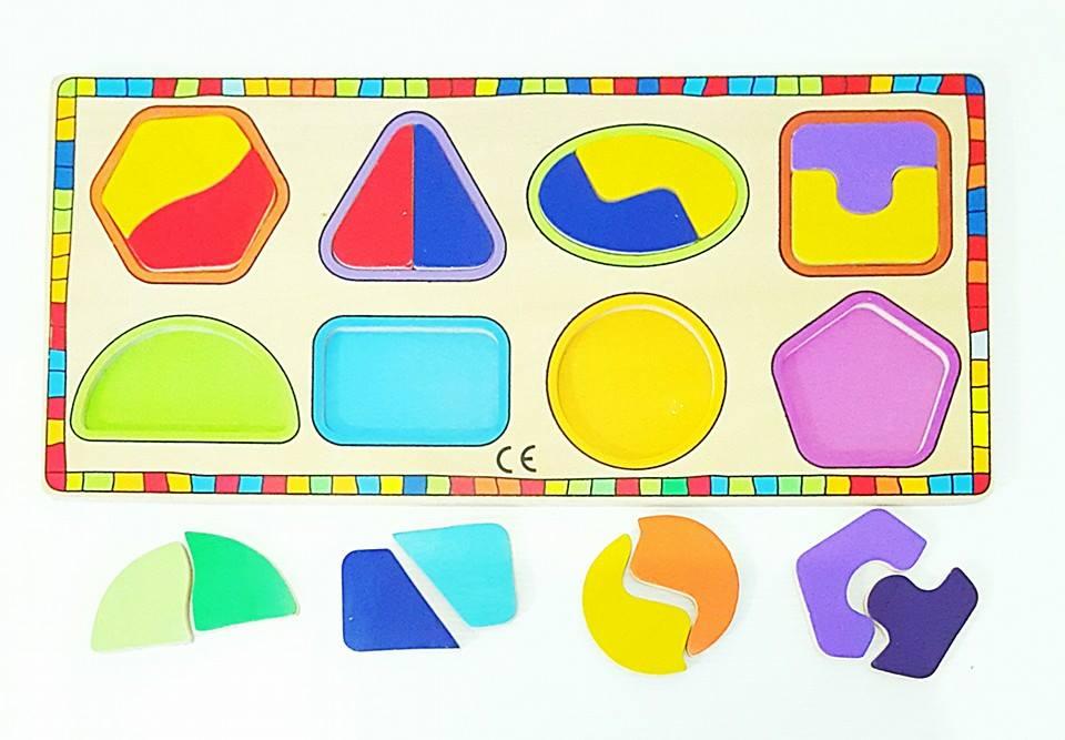 ของเล่นเสริมพัฒนาการ ของเล่น ของเล่นไม้ จิ๊กซอว์ไม้รูปทรงเรขาคณิต 8 ชนิด