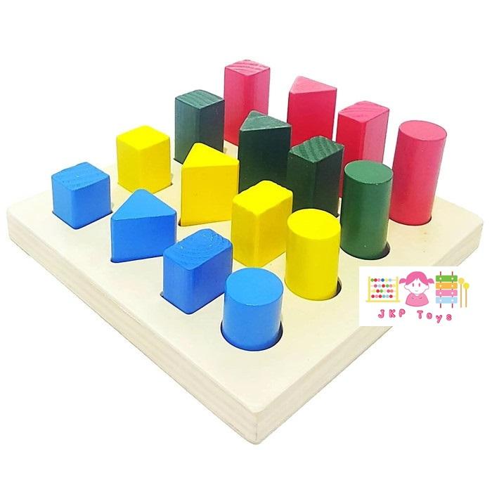 ของเล่นไม้ บล็อคไม้ รูปทรง สื่อการเรียนการสอน ใช้ใน โรงเรียนแบบ Montessori (Montessori Math Educational Toys Wooden Material)