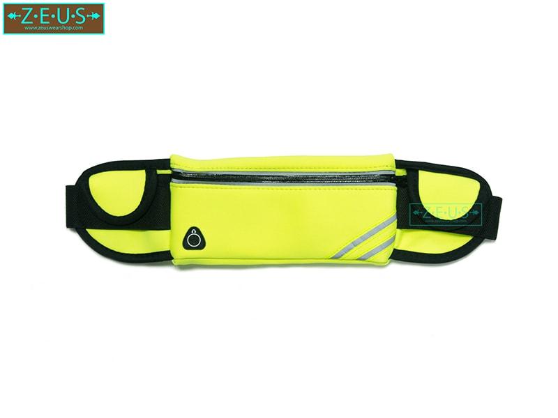 กระเป๋าคาดเอววิ่ง สีเขียว เสียบขวดน้ำได้ ใส่โทรศัพท์ได้ทุกรุ่น