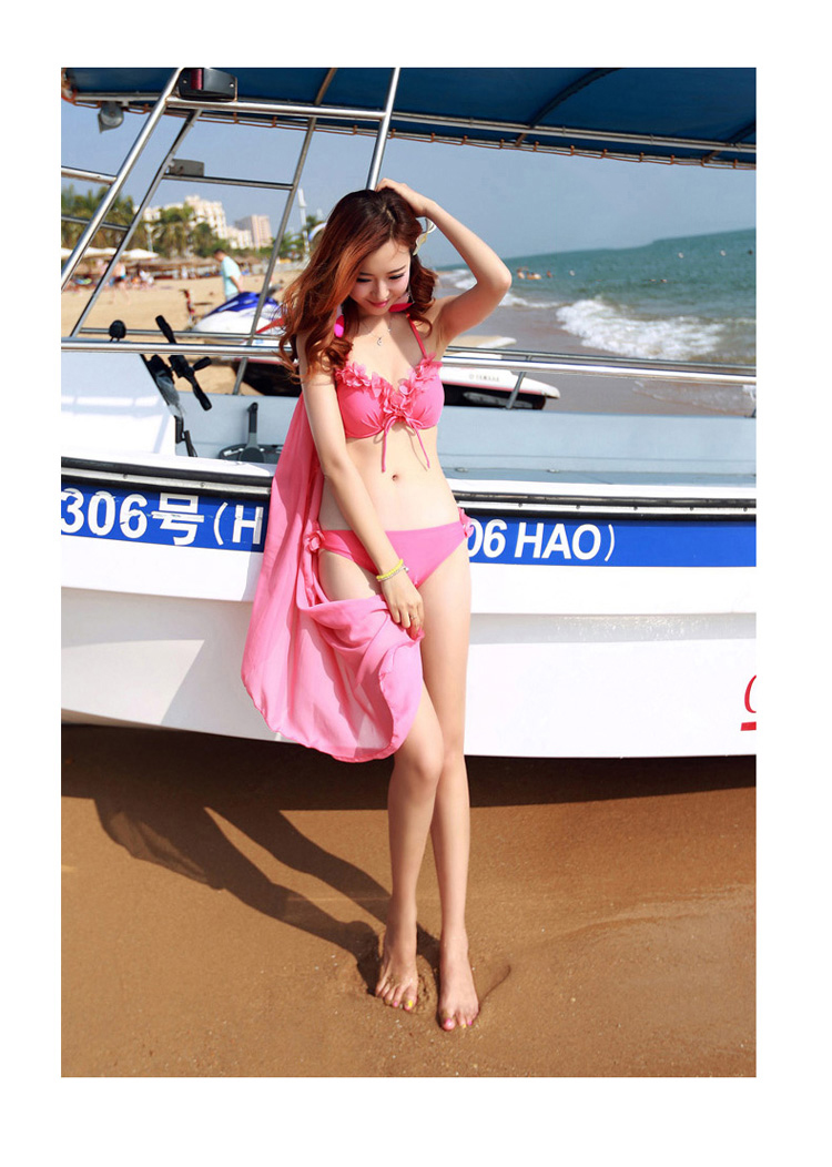 ชุดว่ายน้ำสีชมพู