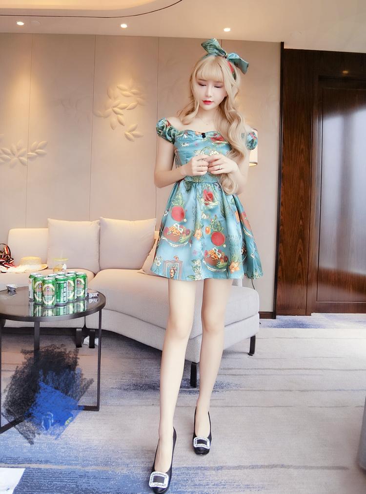 ชุดเดรสแฟชั่นเกาหลีสีฟ้าน่ารักๆ