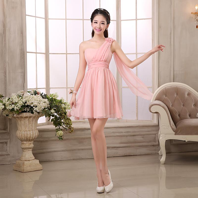 รับตัวแทนจำหน่ายชุดเดรสออกงานเกาหลีไหล่เฉียงสีชมพูราคาถูก