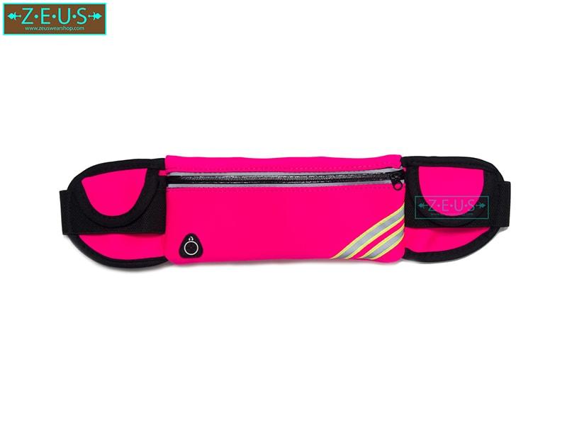 กระเป๋าคาดเอววิ่ง สีชมพู เสียบขวดน้ำได้ ใส่โทรศัพท์ได้ทุกรุ่น