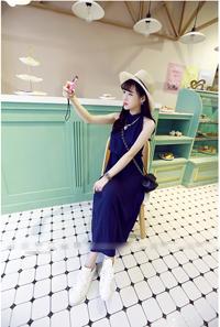 เสื้อผ้าแฟชั่นเกาหลีชุดเดรสยาวน่ารักสีน้ำเงิน
