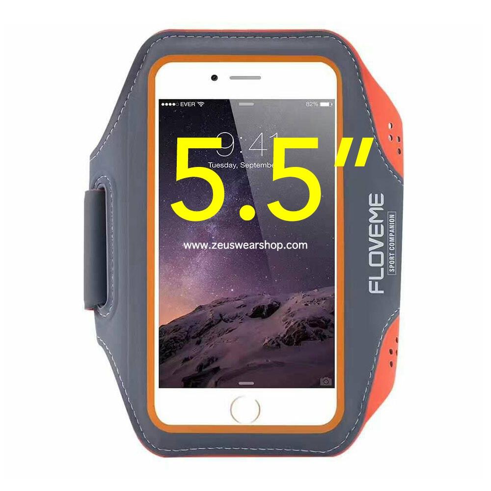 สายรัดแขนวิ่ง สีส้ม Armband ใส่โทรศัพท์หน้าจอ 5.5 นิ้ว