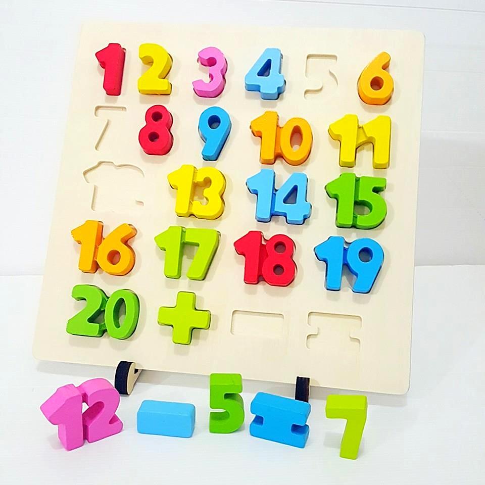 กระดานไม้ฝึกนับเลขพร้อมบล็อคตัวเลขสีสายรุ้ง ขาตั้งกระดาน ถอดเข้า-ออกได้