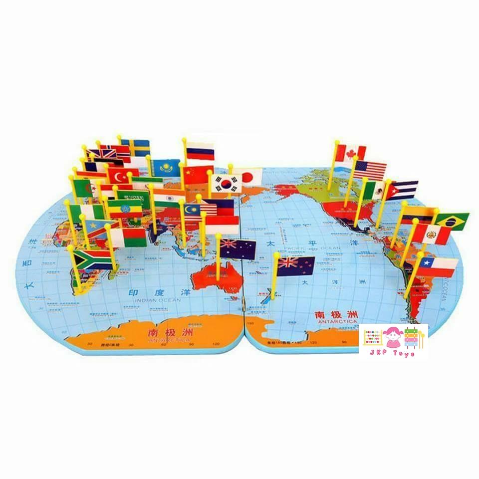 แผนที่โลก และ ธงนานาชาติ