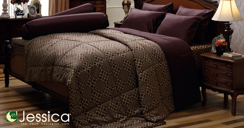ชุดเครื่องนอน ผ้าปูที่นอน Jessica เนื้อผ้า cotton 100% พิมพ์ ลายคลาสสิค รุ่นC985