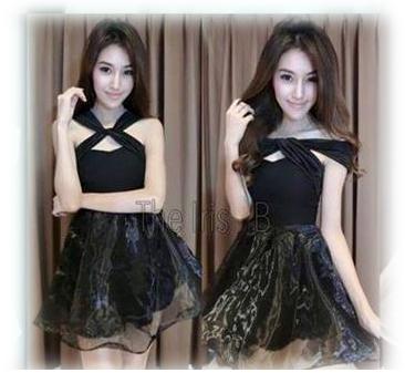 เดรสออกงานเกาหลีผ้าคาดอกสีดำ