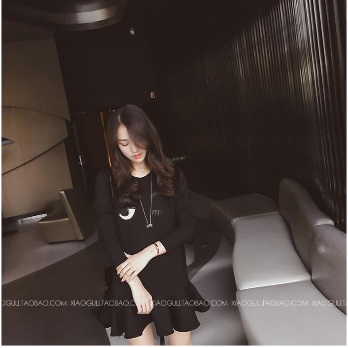 ชุดเดรสแฟชั่นเกาหลีสีดำแขนยาว