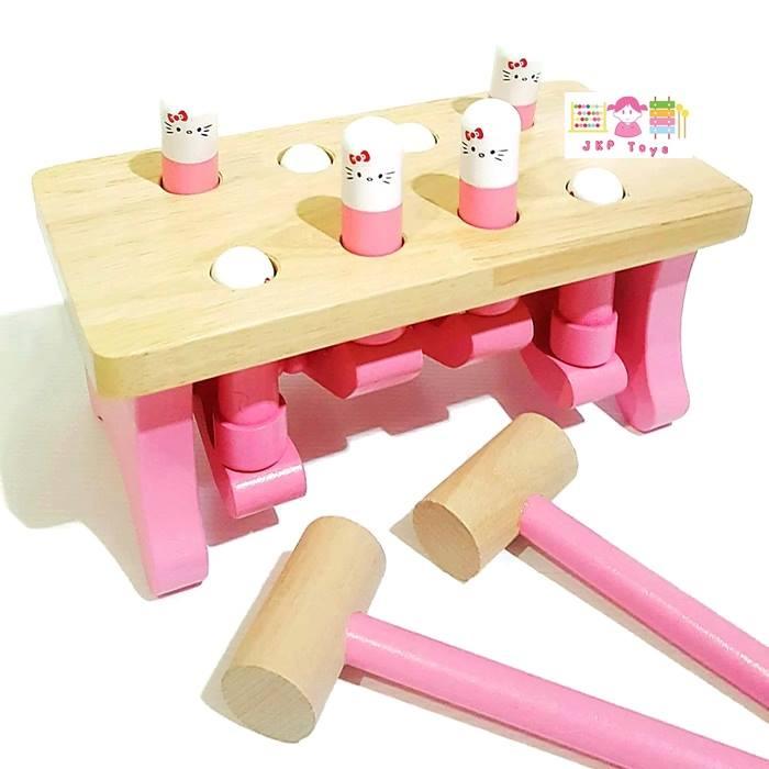 ของเล่นไม้เสริมพัฒนาการ ชุดคุณเเม่ คุณลูกช่วยกันทุบตุ่นผลุบๆโผล่ๆ สีชมพูหวาน