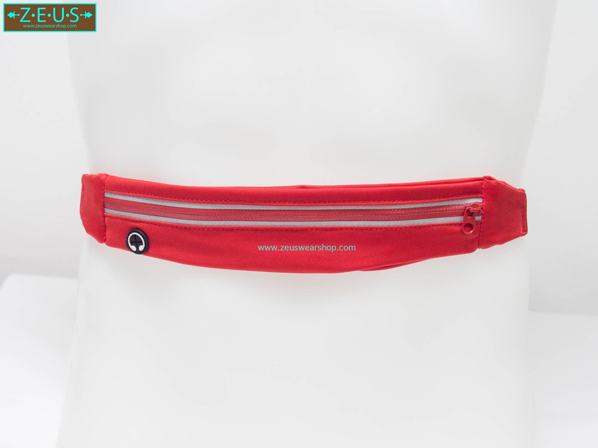 กระเป๋าคาดเอววิ่ง กันน้ำ สีแดง 1ซิป มีช่องเสียบหูฟัง