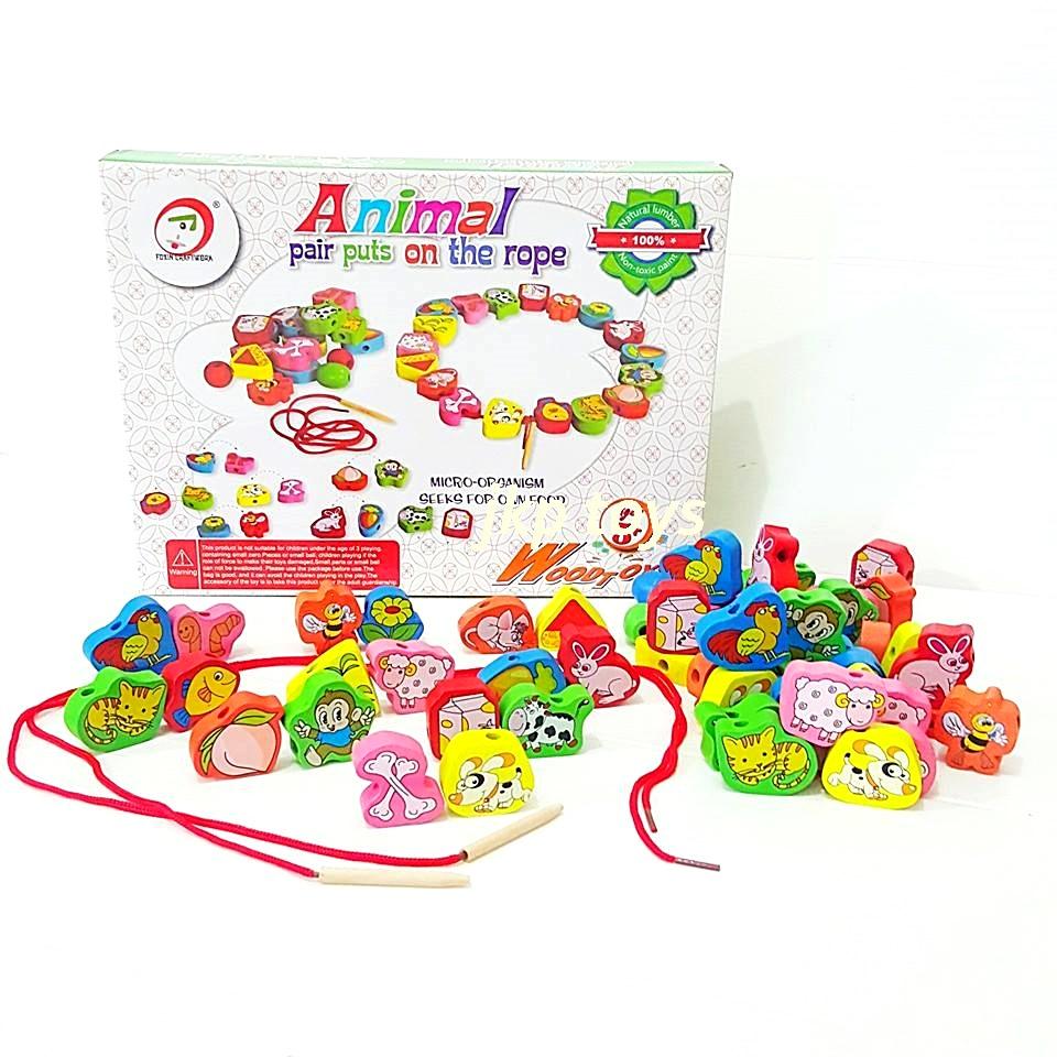 ของเล่นเสริมพัฒนาการ ของเล่นไม้ชุด ร้อยเชือกจับคู่สัตว์กับอาหาร 65 ชิ้น