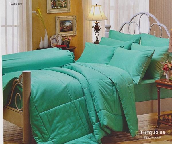 ชุดเครื่องนอน JESSICA สีพื้น Cotton 100% ซิลค์ ซายน์ สีTurquoise-สีเทอร์ควอยซ์