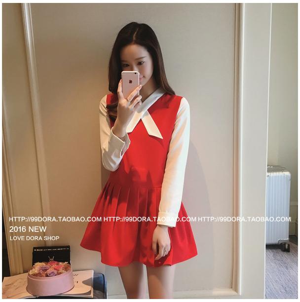 ชุดเดรสแฟชั่นเกาหลีสีแดงแขนยาวสีขาว กระโปรงบานเข้ารูปจับจีบ
